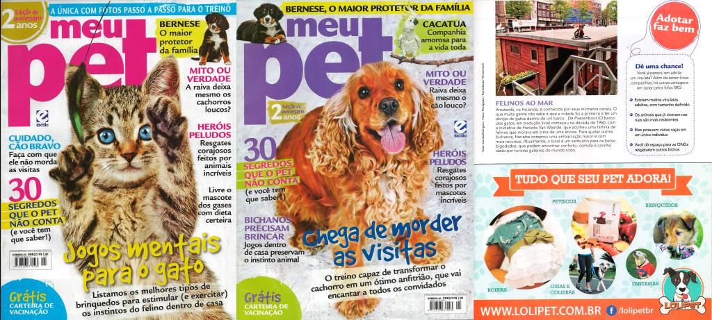 Anúncio e Capas da Revista Meu Pet do mês de Agosto