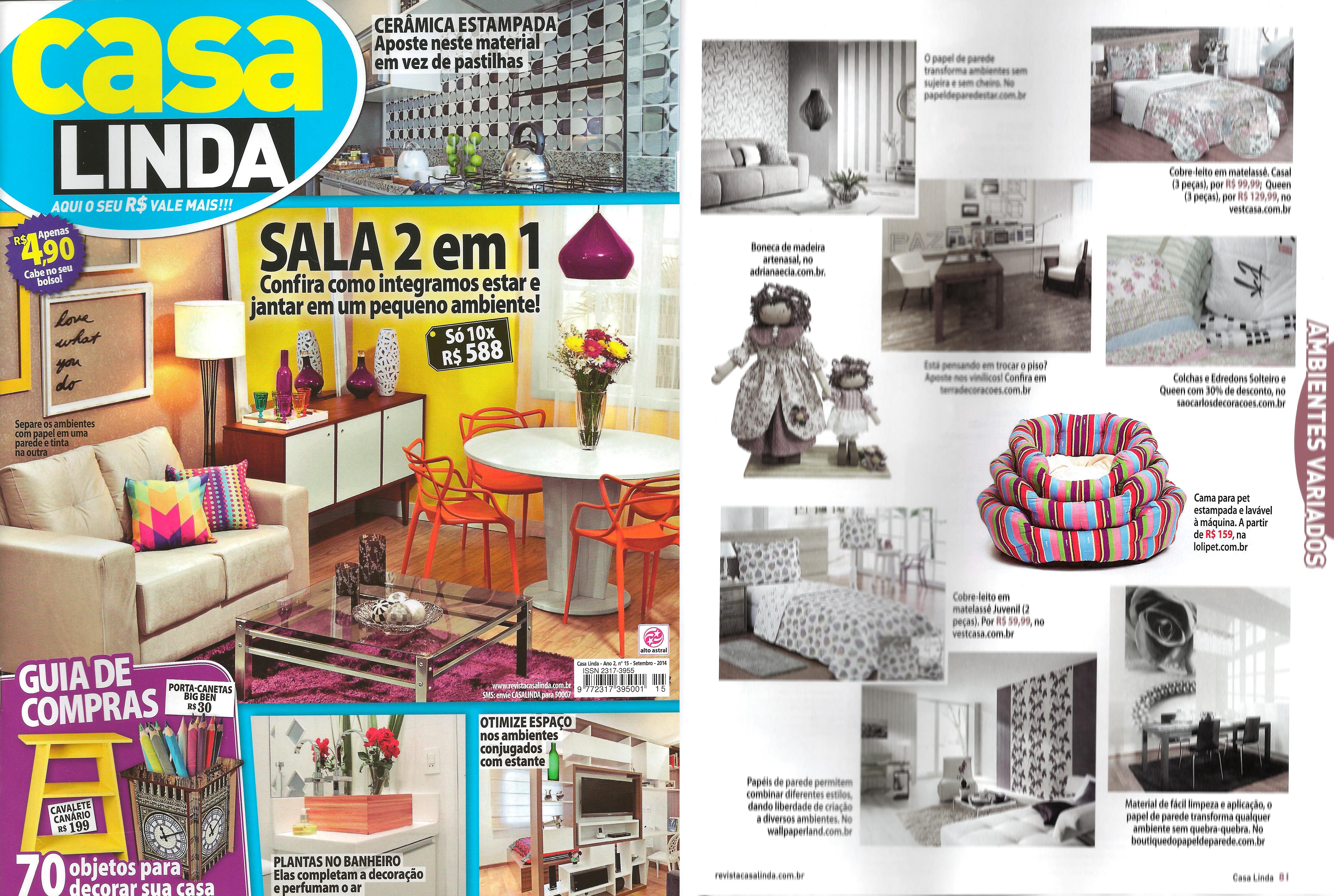 Saiu na Mídia – Guia de Compras – Revista Casa Linda
