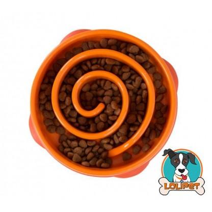 Comedouro Lento Fun Feeder Mini para Cães Laranja