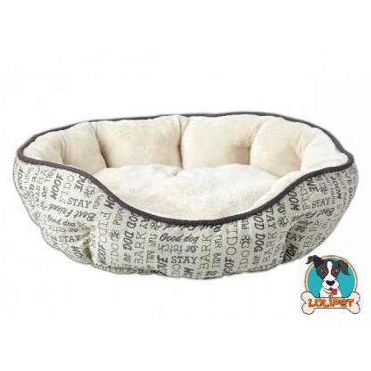 Cama para Cães e Gatos de Camurça Estampa Woof