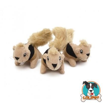 Brinquedo  Esquilo de Pelúcia Kyjen / Outward Hound para Cães Kit com 3