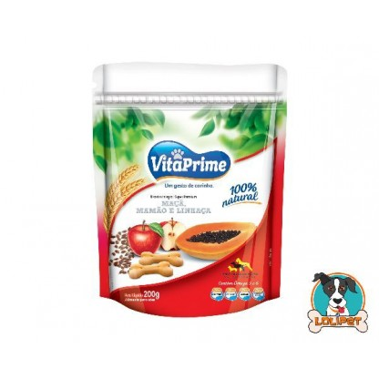 Biscoito Natural para Cães VitaPrime Sabor Mamão, Maça e Linhaça