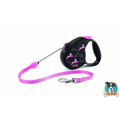 Guia Retrátil Flexi Colors Dog Preto e Rosa 1
