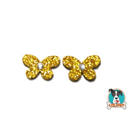 Bijuteria Adesiva para Pets Borboleta Mini com Cristal e Glitter da Pity Biju