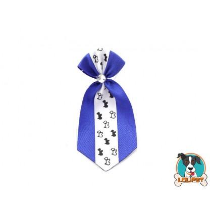 Gravata De Cetim Estampado Azul