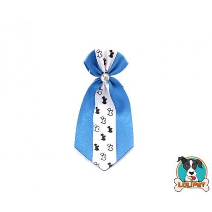Gravata De Cetim Estampado Azul Claro