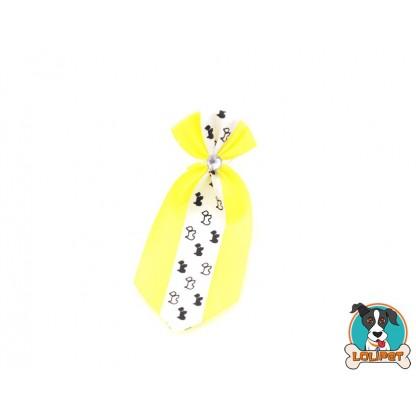 Gravata De Cetim Estampado Amarelo