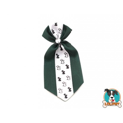 Gravata De Cetim Estampado Verde Escuro