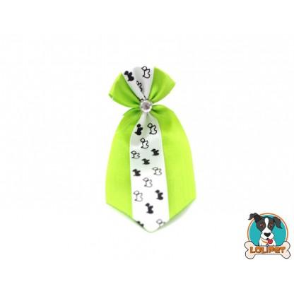 Gravata De Cetim Estampado Verde Claro