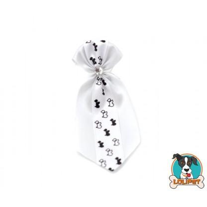 Gravata De Cetim Estampado Branco