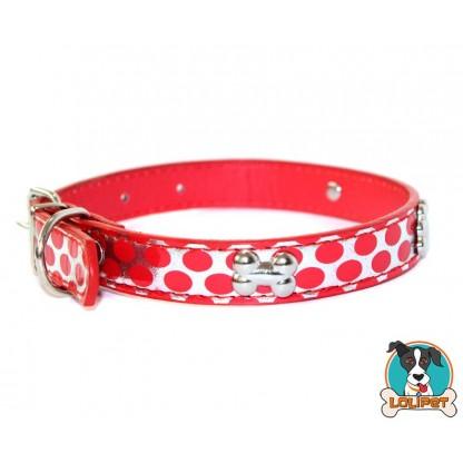 Coleira Glitter Tachas Vida De Cão Vermelha