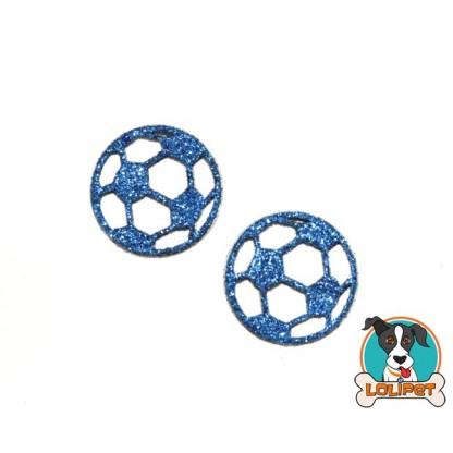 Bijuteria Adesiva para Pets de Bola de Futebol com Glitter da Pity Biju