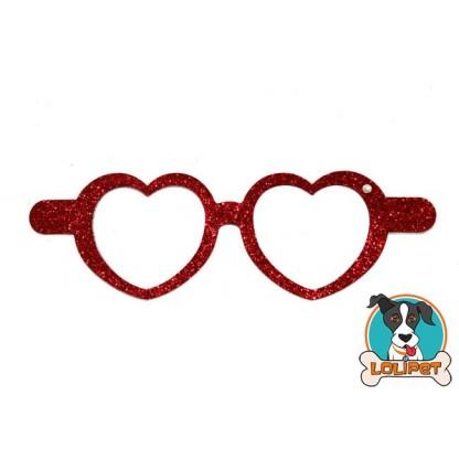 Bijuteria Adesiva para Pets Óculos Coração com Glitter  - Pity Biju