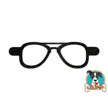 Bijuteria Adesiva para Pets Óculos Aviador com Glitter  - Pity Biju