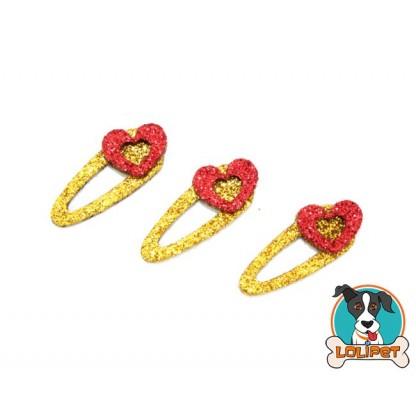Bijuteria Adesiva de Fivela com Coração para Pets - Pity Biju