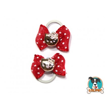 Par de Laços para Cães com Pingente da Hello Kitty