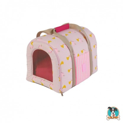 Caixa Transporte Tela para Cães e Gatos WOOF Iceland Picolé Rosa